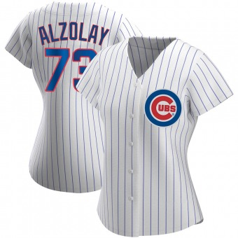 Women's Adbert Alzolay Chicago White Authentic Home Baseball Jersey (Unsigned No Brands/Logos)