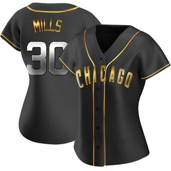 Women's Alec Mills Chicago Black Golden Replica Alternate Baseball Jersey (Unsigned No Brands/Logos)