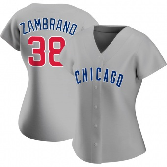 Women's Carlos Zambrano Chicago Gray Authentic Road Baseball Jersey (Unsigned No Brands/Logos)