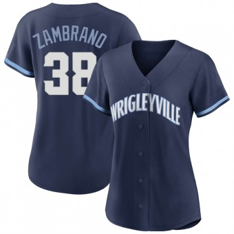 Women's Carlos Zambrano Chicago Navy Authentic 2021 City Connect Baseball Jersey (Unsigned No Brands/Logos)