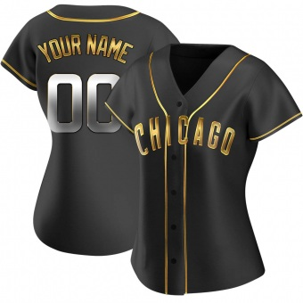 Women's Custom Chicago Black Golden Replica Alternate Baseball Jersey (Unsigned No Brands/Logos)