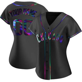 Women's Custom Chicago Black Holographic Replica Alternate Baseball Jersey (Unsigned No Brands/Logos)
