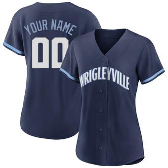 Women's Custom Chicago Navy Replica 2021 City Connect Baseball Jersey (Unsigned No Brands/Logos)