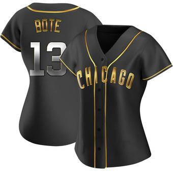Women's David Bote Chicago Black Golden Replica Alternate Baseball Jersey (Unsigned No Brands/Logos)