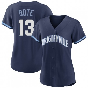 Women's David Bote Chicago Navy Authentic 2021 City Connect Baseball Jersey (Unsigned No Brands/Logos)