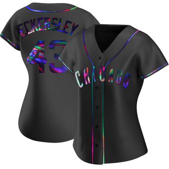 Women's Dennis Eckersley Chicago Black Holographic Replica Alternate Baseball Jersey (Unsigned No Brands/Logos)