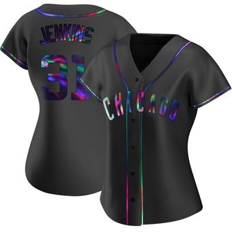 Women's Fergie Jenkins Chicago Black Holographic Alternate Baseball Jersey (Unsigned No Brands/Logos)