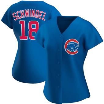 Women's Frank Schwindel Chicago Royal Authentic Alternate Baseball Jersey (Unsigned No Brands/Logos)