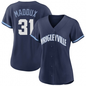 Women's Greg Maddux Chicago Navy Authentic 2021 City Connect Baseball Jersey (Unsigned No Brands/Logos)