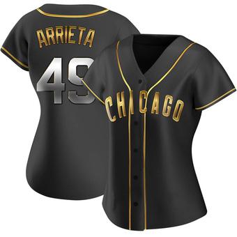 Women's Jake Arrieta Chicago Black Golden Replica Alternate Baseball Jersey (Unsigned No Brands/Logos)