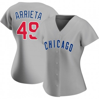 Women's Jake Arrieta Chicago Gray Authentic Road Baseball Jersey (Unsigned No Brands/Logos)