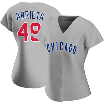Women's Jake Arrieta Chicago Gray Replica Road Baseball Jersey (Unsigned No Brands/Logos)