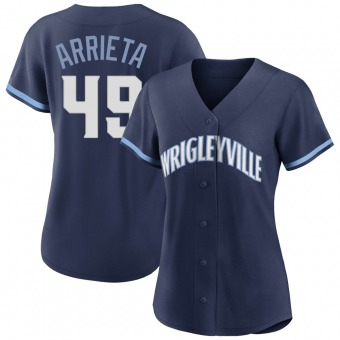 Women's Jake Arrieta Chicago Navy Authentic 2021 City Connect Baseball Jersey (Unsigned No Brands/Logos)