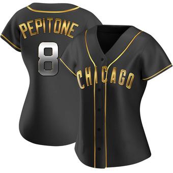 Women's Joe Pepitone Chicago Black Golden Replica Alternate Baseball Jersey (Unsigned No Brands/Logos)