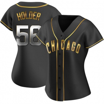 Women's Jonathan Holder Chicago Black Golden Replica Alternate Baseball Jersey (Unsigned No Brands/Logos)