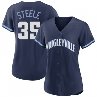 Women's Justin Steele Chicago Navy Replica 2021 City Connect Baseball Jersey (Unsigned No Brands/Logos)