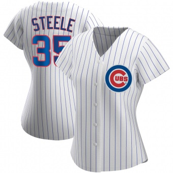 Women's Justin Steele Chicago White Authentic Home Baseball Jersey (Unsigned No Brands/Logos)