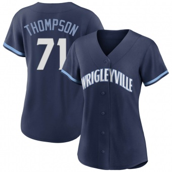Women's Keegan Thompson Chicago Navy Authentic 2021 City Connect Baseball Jersey (Unsigned No Brands/Logos)
