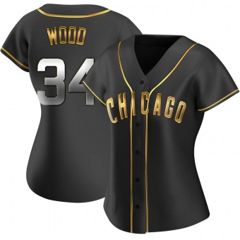 Women's Kerry Wood Chicago Black Golden Replica Alternate Baseball Jersey (Unsigned No Brands/Logos)