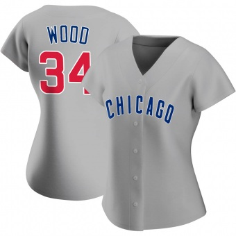 Women's Kerry Wood Chicago Gray Replica Road Baseball Jersey (Unsigned No Brands/Logos)