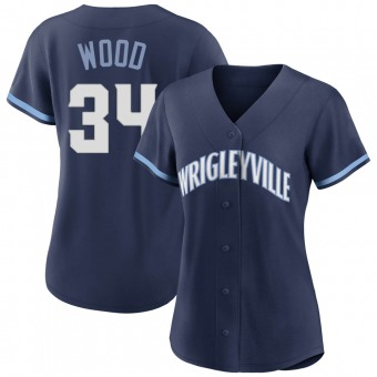 Women's Kerry Wood Chicago Navy Replica 2021 City Connect Baseball Jersey (Unsigned No Brands/Logos)