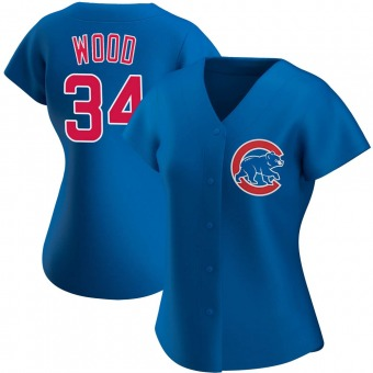 Women's Kerry Wood Chicago Royal Authentic Alternate Baseball Jersey (Unsigned No Brands/Logos)