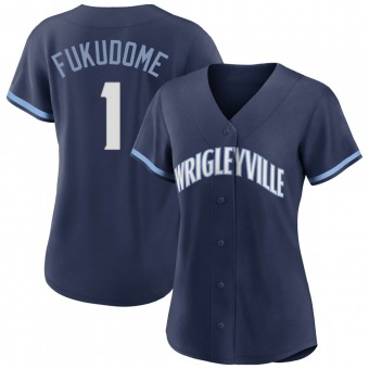 Women's Kosuke Fukudome Chicago Navy Authentic 2021 City Connect Baseball Jersey (Unsigned No Brands/Logos)