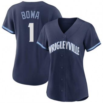 Women's Larry Bowa Chicago Navy Authentic 2021 City Connect Baseball Jersey (Unsigned No Brands/Logos)