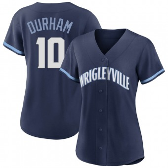 Women's Leon Durham Chicago Navy Authentic 2021 City Connect Baseball Jersey (Unsigned No Brands/Logos)
