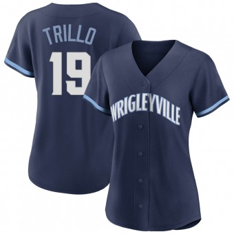 Women's Manny Trillo Chicago Navy Authentic 2021 City Connect Baseball Jersey (Unsigned No Brands/Logos)