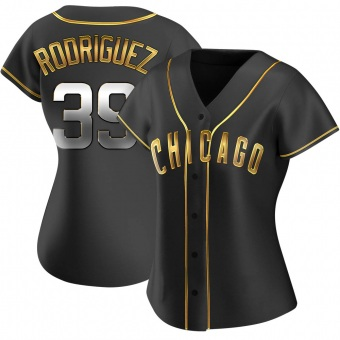 Women's Manuel Rodriguez Chicago Black Golden Alternate Baseball Jersey (Unsigned No Brands/Logos)