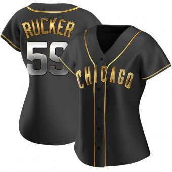 Women's Michael Rucker Chicago Black Golden Alternate Baseball Jersey (Unsigned No Brands/Logos)