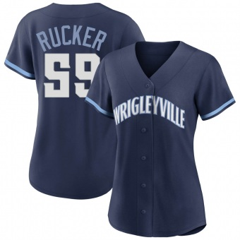 Women's Michael Rucker Chicago Navy Authentic 2021 City Connect Baseball Jersey (Unsigned No Brands/Logos)