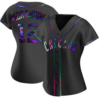 Women's Mickey Morandini Chicago Black Holographic Replica Alternate Baseball Jersey (Unsigned No Brands/Logos)
