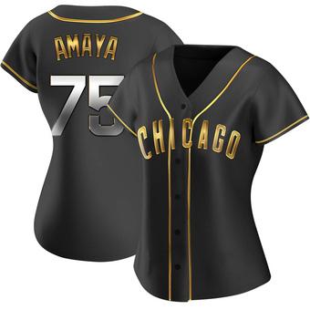 Women's Miguel Amaya Chicago Black Golden Replica Alternate Baseball Jersey (Unsigned No Brands/Logos)