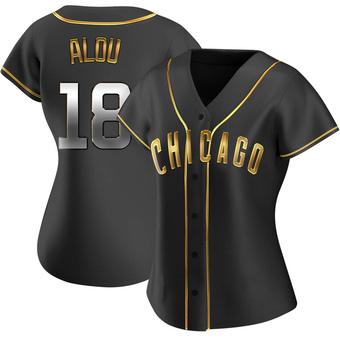 Women's Moises Alou Chicago Black Golden Replica Alternate Baseball Jersey (Unsigned No Brands/Logos)