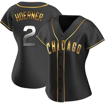 Women's Nico Hoerner Chicago Black Golden Replica Alternate Baseball Jersey (Unsigned No Brands/Logos)