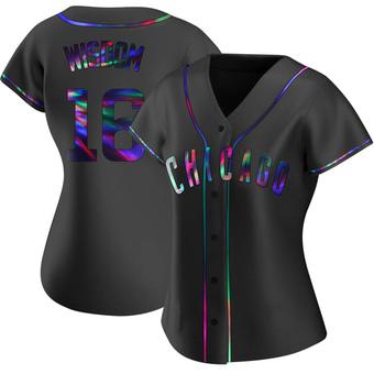 Women's Patrick Wisdom Chicago Black Holographic Replica Alternate Baseball Jersey (Unsigned No Brands/Logos)