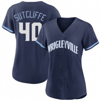 Women's Rick Sutcliffe Chicago Navy Authentic 2021 City Connect Baseball Jersey (Unsigned No Brands/Logos)