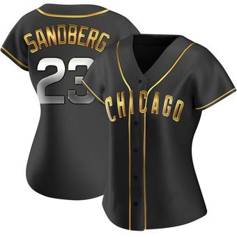 Women's Ryne Sandberg Chicago Black Golden Replica Alternate Baseball Jersey (Unsigned No Brands/Logos)