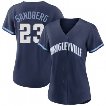 Women's Ryne Sandberg Chicago Navy Authentic 2021 City Connect Baseball Jersey (Unsigned No Brands/Logos)
