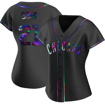Women's Sammy Sosa Chicago Black Holographic Replica Alternate Baseball Jersey (Unsigned No Brands/Logos)