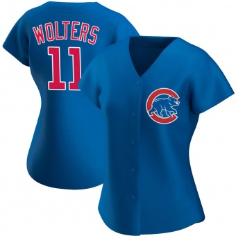 Women's Tony Wolters Chicago Royal Authentic Alternate Baseball Jersey (Unsigned No Brands/Logos)