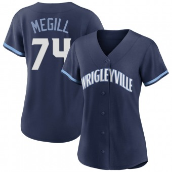 Women's Trevor Megill Chicago Navy Authentic 2021 City Connect Baseball Jersey (Unsigned No Brands/Logos)