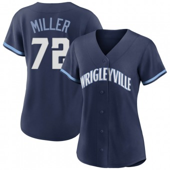 Women's Tyson Miller Chicago Navy Authentic 2021 City Connect Baseball Jersey (Unsigned No Brands/Logos)
