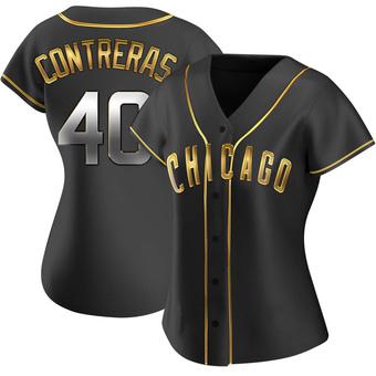 Women's Willson Contreras Chicago Black Golden Replica Alternate Baseball Jersey (Unsigned No Brands/Logos)