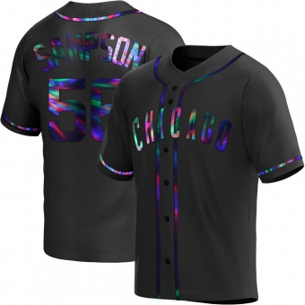 Youth Adrian Sampson Chicago Black Holographic Alternate Baseball Jersey (Unsigned No Brands/Logos)