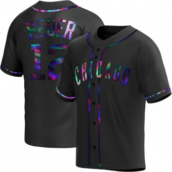 Youth Codi Heuer Chicago Black Holographic Alternate Baseball Jersey (Unsigned No Brands/Logos)