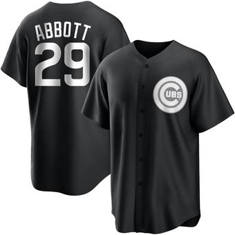 Youth Cory Abbott Chicago Black/White Replica Baseball Jersey (Unsigned No Brands/Logos)