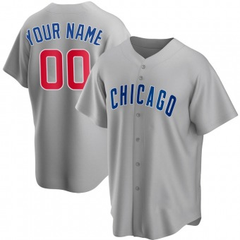 Youth Custom Chicago Gray Replica Road Baseball Jersey (Unsigned No Brands/Logos)